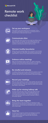 Checklist infographic working remotely